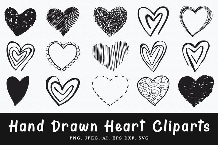 Thumbnail for 15+ Handmade Heart Cliparts