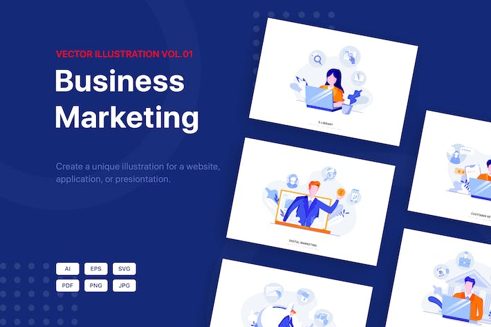 Thumbnail for Business Marketing Illustrationspaket