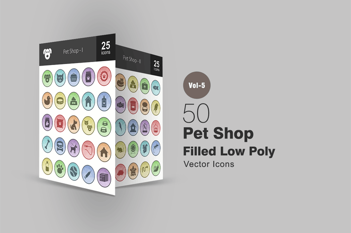 Thumbnail for 50 Pet Shop Filled Low Poly Icons