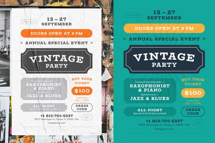 Vintage Party Poster Template