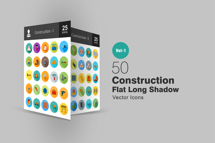 Thumbnail for 50 Construction Flat Long Shadow Icons