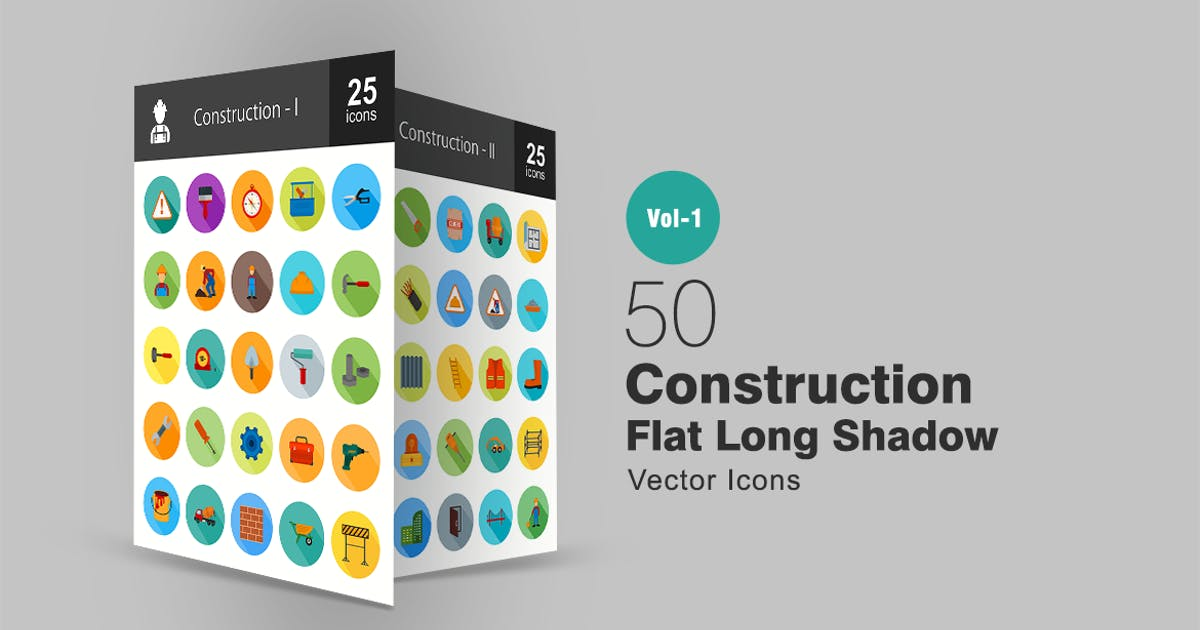 50 Construction Flat Long Shadow Icons by IconBunny