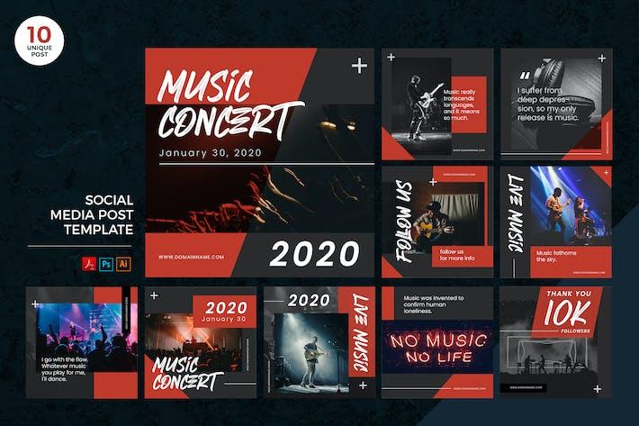 Thumbnail for Live Music Concert Social Media Kit PSD & AI