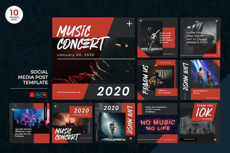 Live Music Concert Social Media Kit PSD & AI