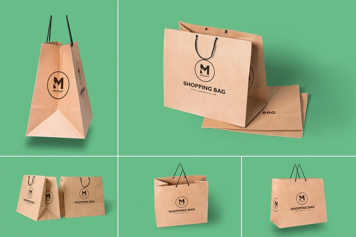 Cover Image For 5 Paper Shopping Bag Mockups
