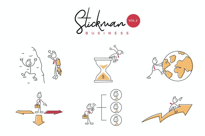 Thumbnail for Business Stickman Vector Illustration Set 2