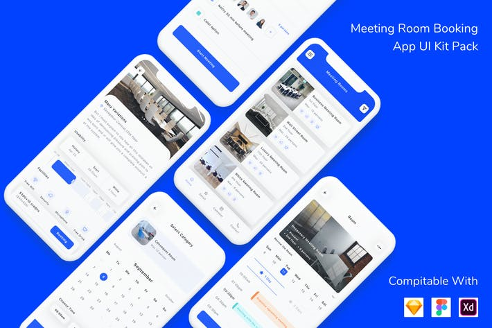 Thumbnail for Meeting Room Booking App UI Kit Pack