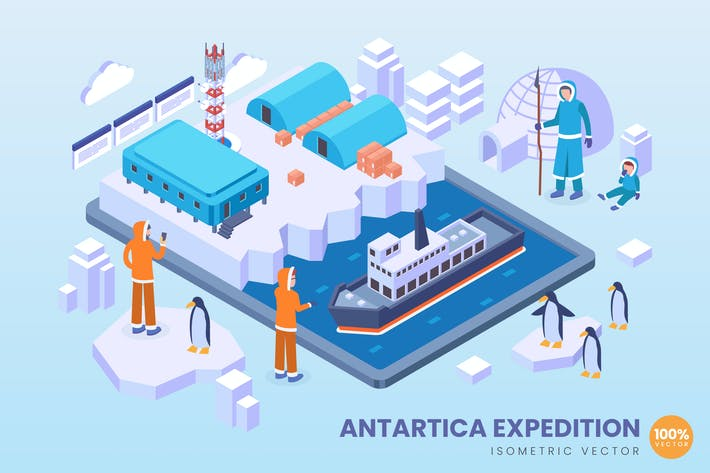 Thumbnail for Isometrisches Antartica-Expeditions-Vektor konzept