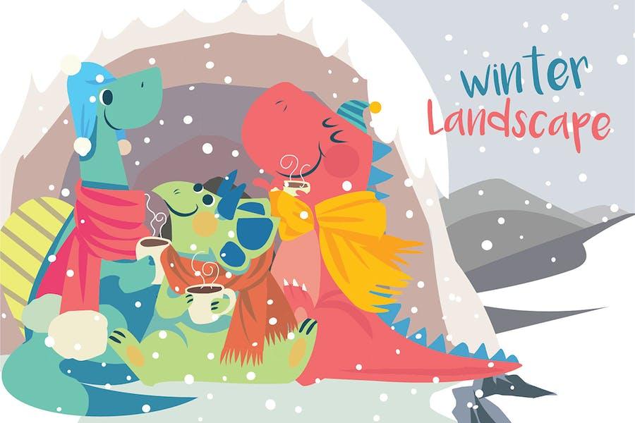 Winter landscape - Vector Illustration