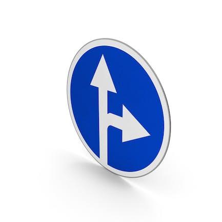 Verkehrszeichen geradeaus oder nach rechts abbiegen
