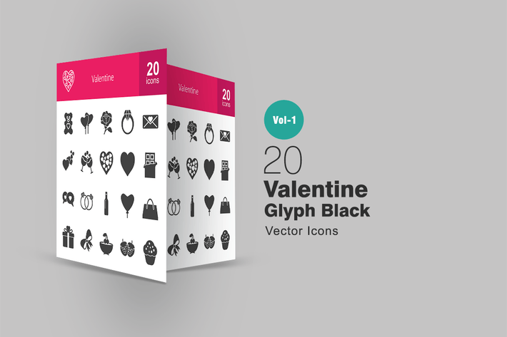Cover Image For 20 Valentine Glyph Icons
