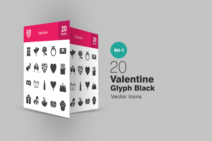 Thumbnail for 20 Valentine Glyph Icons