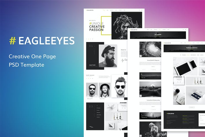Thumbnail for EAGLEEYES - Creative One Page PSD Template