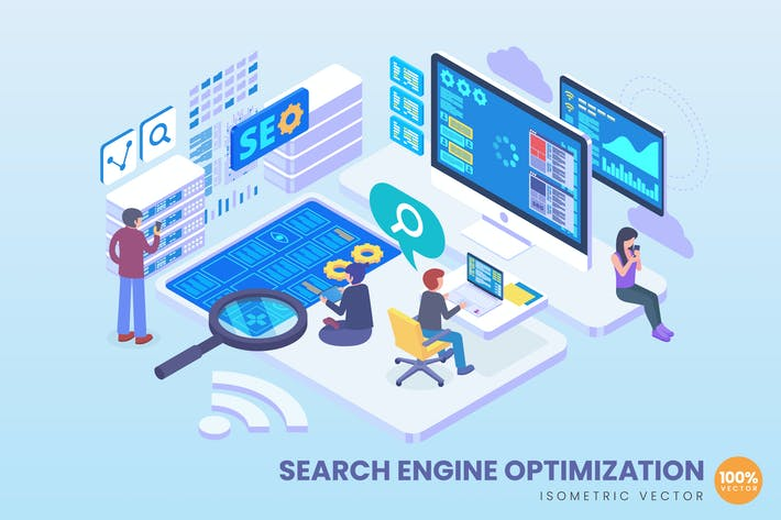 Thumbnail for Isometric Search Engine Optimization Vector