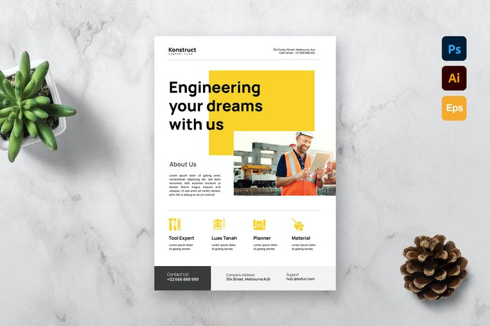 Thumbnail for Construction Company Flyer Template
