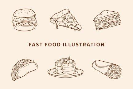Fast Food Illustration (Outline Version)