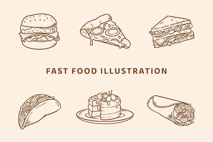 Thumbnail for Fast Food Illustration (Outline Version)