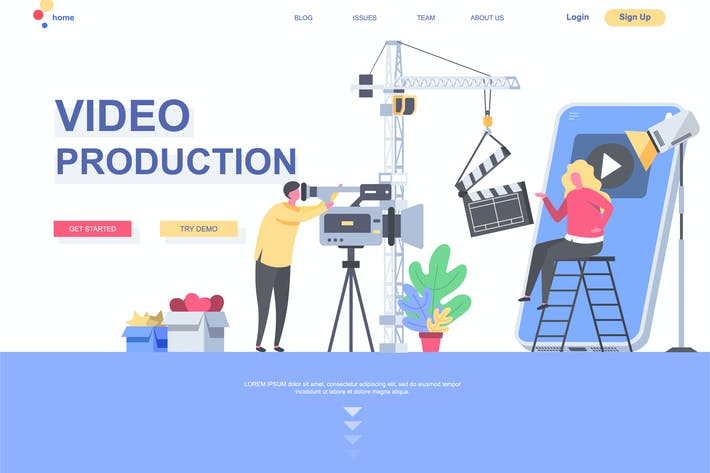 Thumbnail for Video Production Landing Page Template