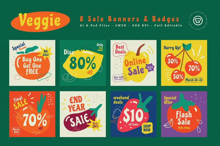 Thumbnail for Veggie Sale Banners & Badges