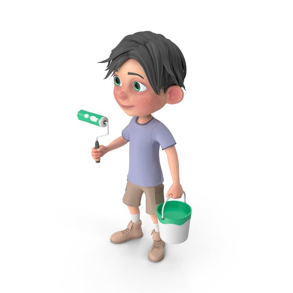 Thumbnail for Cartoon Boy Jack Holding Paint Roller