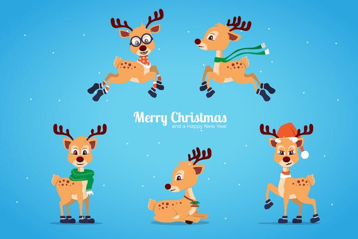 Thumbnail for Cute Cartoon Christmas Deer Collection