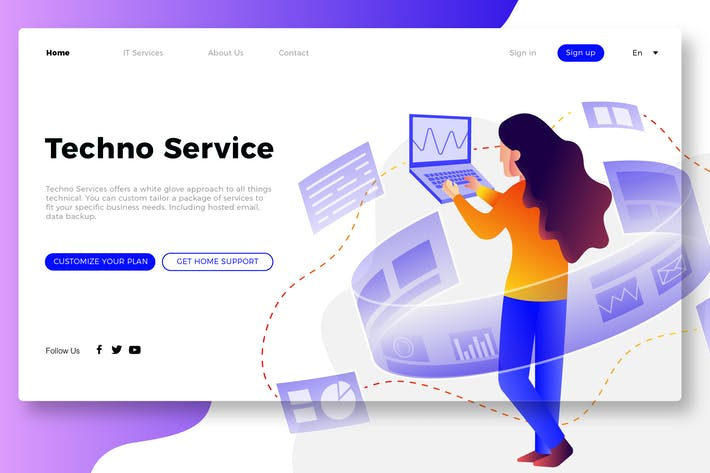 Thumbnail for IT Service - Banner & Landing Page