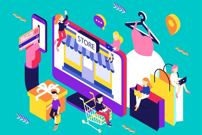 Thumbnail for Online Store Isometric Illustration