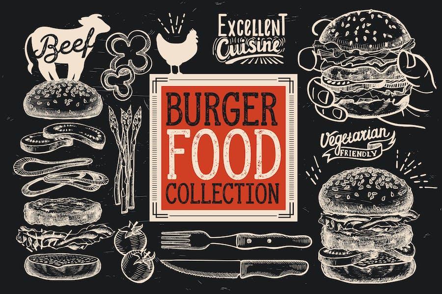 Burger Fast Food Elements