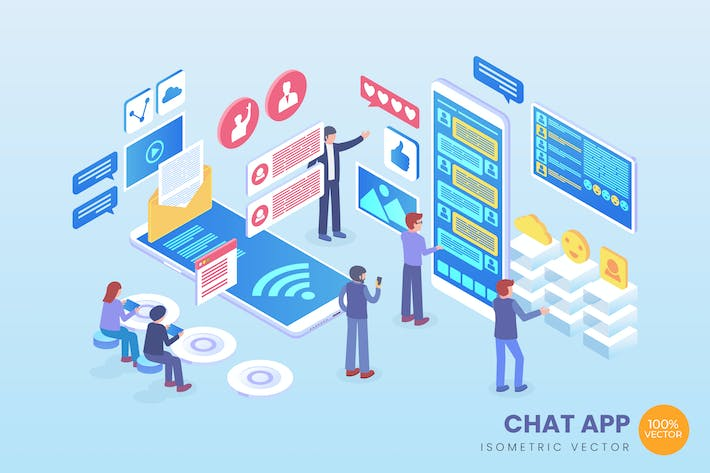 Thumbnail for Isometric Chat App Vector Concept