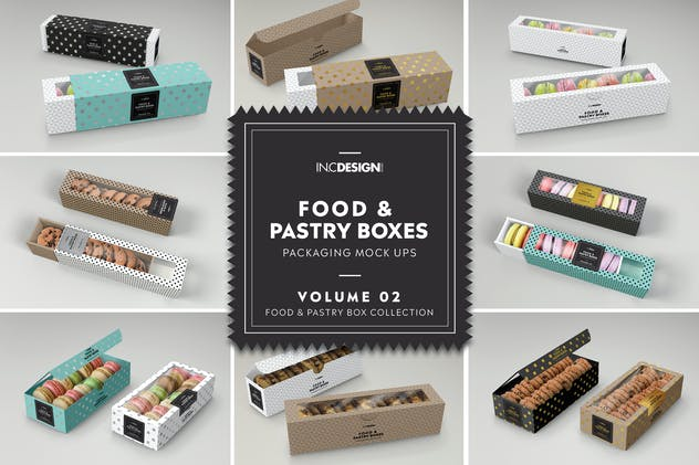 Food Pastry Boxes Vol.2: Packaging Mockups