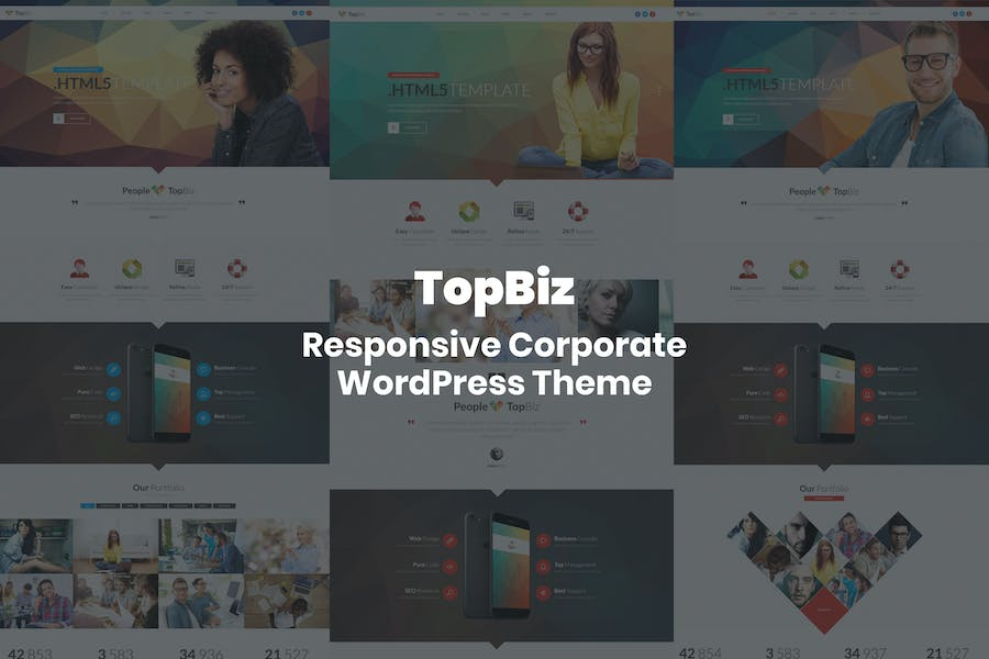 TopBiz - Responsive Corporate HTML5 Template - Creative Geometric Design with Animated Effects