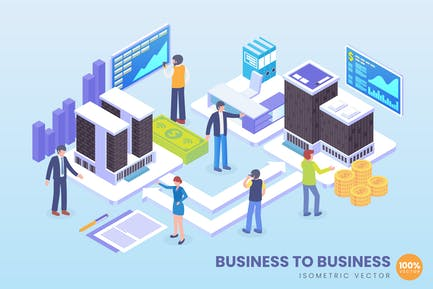 Isometric Business To Business Vector Concept