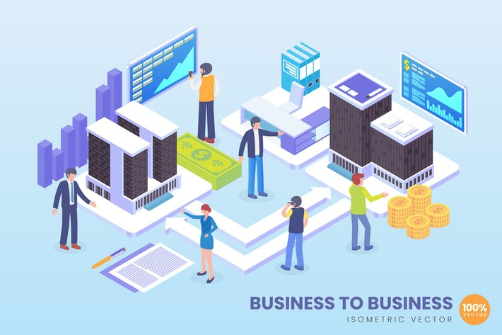 Cover Image For Isometric Business To Business Vector Concept