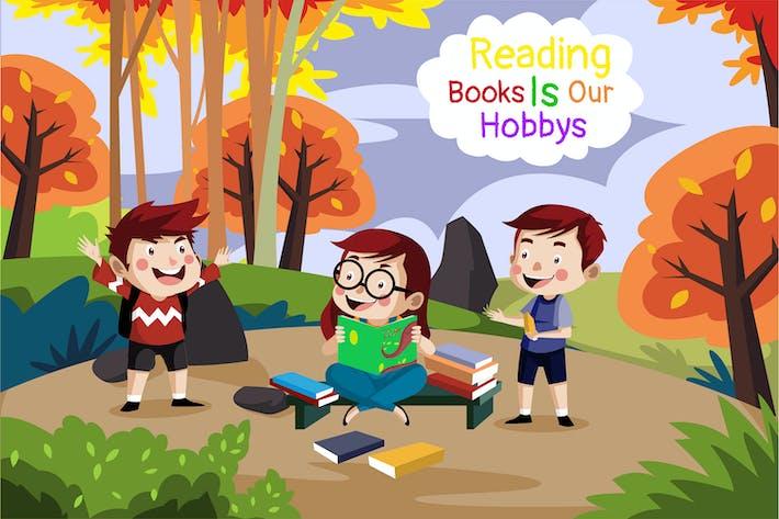 Reading books - Illustration