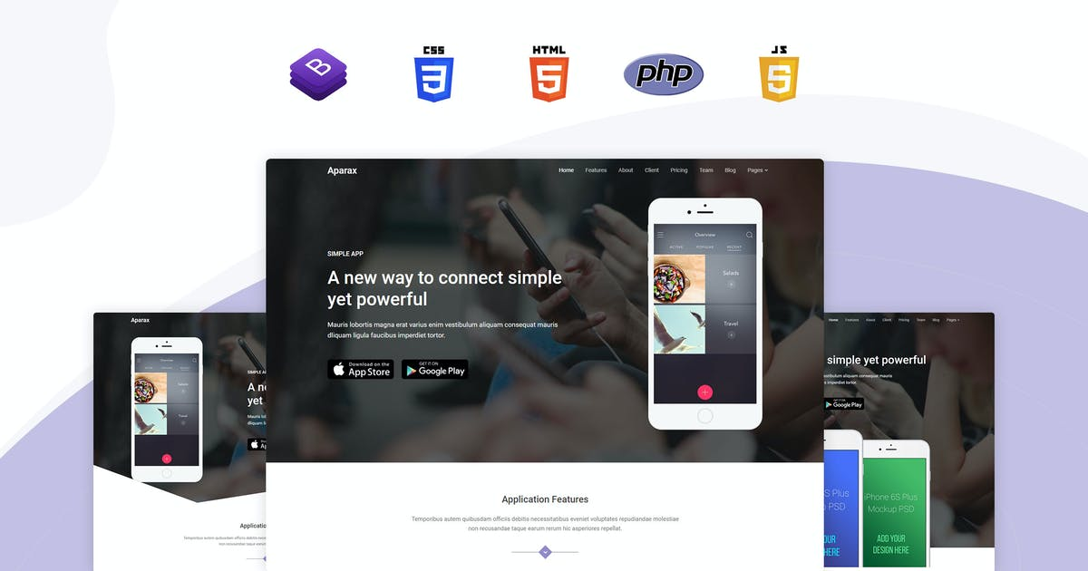 Download Aparax - App Landing Template by themesdesign