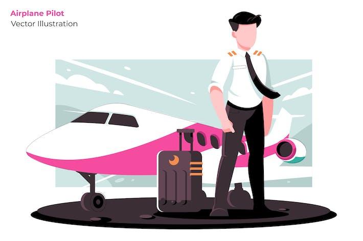 Airplane Pilot - Vector Illustration