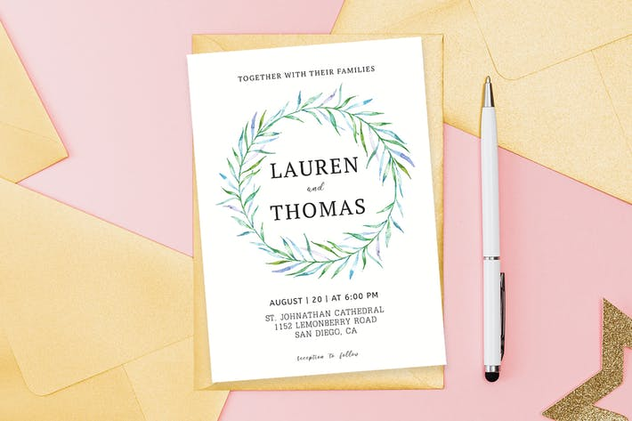 Simple Floral Wedding Invitation Template