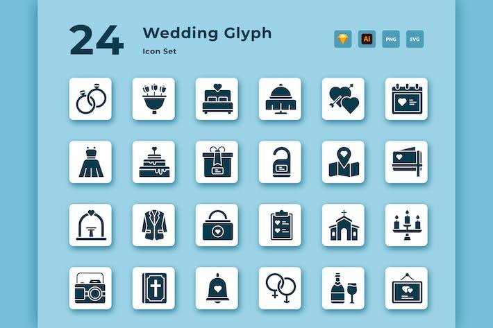 24 Wedding Glyph Vector Icon Pack