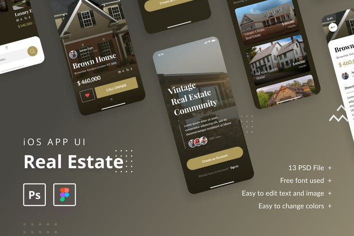 Thumbnail for Real Estate iOS App UI Template PSD & Figma