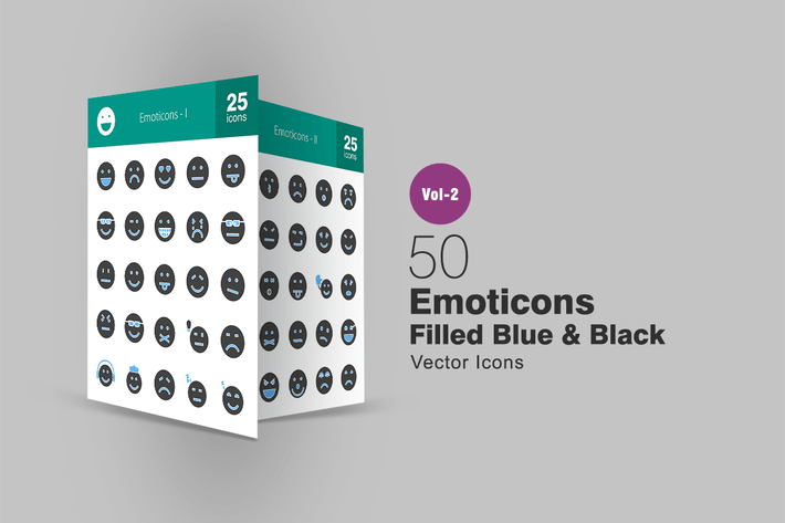 Thumbnail for 50 Emoticons Blue & Black Icons