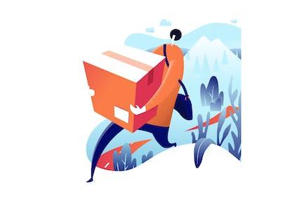 Delivery man. vector hero illustration