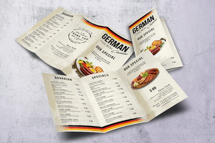 Thumbnail for German Cuisine A4 & US Letter Trifold Food Menu