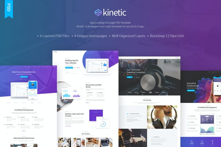 Thumbnail for Kinetic - App Landing One Page PSD Template