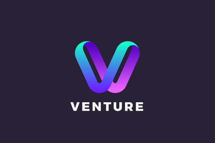 Letter V Logo design 3D Ribbon style