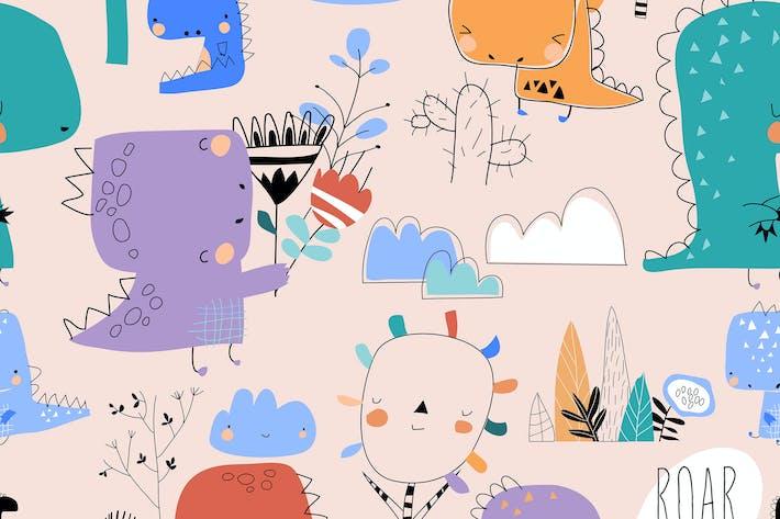 Thumbnail for Vektor nahtloses Muster mit niedlichen Cartoon-Dinosaurier