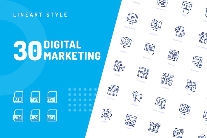 Thumbnail for Digital Marketing Line Icons