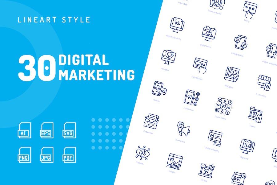 Icons für digitale Marketing-Linie