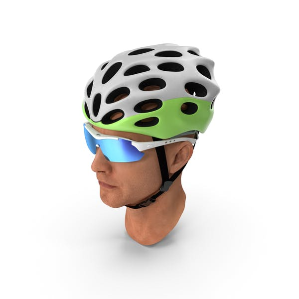 Bicyclist Head in Helmet with Glasses