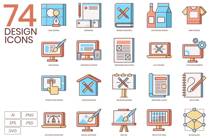 Thumbnail for 74 Design Flat Icons