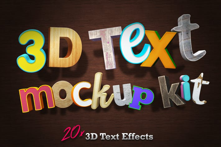 Thumbnail for 3D Text Mockup Kit